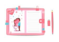 Ame el muchacho y a la muchacha con el cuaderno 1 Fotos de archivo libres de regalías