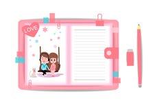 Ame el muchacho y a la muchacha con el cuaderno 7 Imágenes de archivo libres de regalías