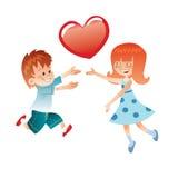 Ame el muchacho y a la muchacha con un corazón rojo Imagen de archivo