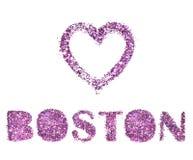 Ame el nombre de Boston, del corazón y de la ciudad del brillo púrpura aislado en el fondo blanco imagenes de archivo