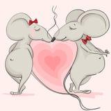 Ame el ratón en el fondo de corazones rosados Fotos de archivo libres de regalías