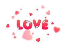 Ame el texto para la celebración del día del ` s de la tarjeta del día de San Valentín Fotos de archivo