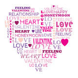 Ame en el collage de la palabra compuesto en forma del corazón Foto de archivo