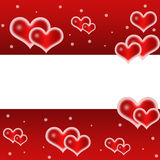 Ame, fundo romântico, vermelho com corações bonitos ilustração do vetor