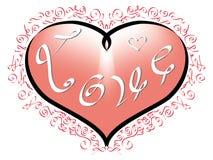 Ame a inscrição no coração cor-de-rosa e ornamento vermelhos no fundo branco Imagens de Stock