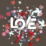 Ame la palabra blanca con las flores, los corazones y los pájaros Imagenes de archivo