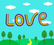 Ame la palabra en el cielo en una forma de paisaje del verano del arco iris Fotografía de archivo