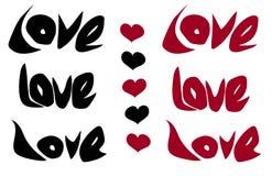 Ame la palabra y el corazón en rojo negro sobre blanco Fotos de archivo libres de regalías