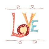 Ame las letras de la mano y garabatea el fondo del bosquejo de los elementos Foto de archivo libre de regalías