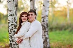 Ame, los pares felices en el parque con los árboles de abedul, verano, soles del otoño Imagen de archivo