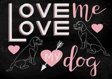 Ame-me amor meu cão ilustração stock