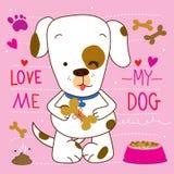 Ame-me amor meu projeto bonito do vetor dos desenhos animados do cão ilustração royalty free