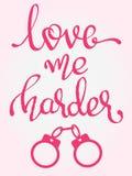 - Ame-me mais duramente - palavras escritas à mão da rotulação ilustração royalty free