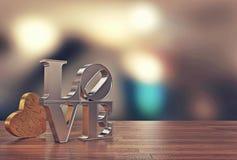 Ame a mensagem com serra de vaivém do coração e borre o fundo para o dia do ` s do Valentim Imagem de Stock