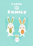 Ame mi plantilla de la tarjeta de la familia Imagen de archivo libre de regalías