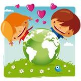 Ame nosso planeta ilustração royalty free
