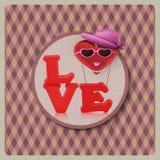 Ame o caráter da mulher do balão de ar do coração no fundo do vintage Fotografia de Stock