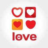 Ame o cartão com alguns corações e letras do vetor Fotografia de Stock