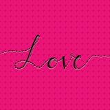 Ame o cartão com amor da rotulação da mão e o teste padrão sem emenda com coração Dia feliz dos Valentim No fundo cor-de-rosa Ill Imagens de Stock