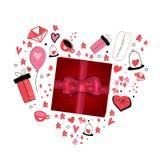 Ame-o cartão com coração bonito dos desenhos animados Conceito do cartaz de Valentine Day ilustração royalty free