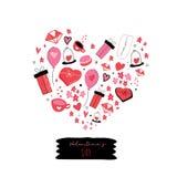 Ame-o cartão com coração bonito dos desenhos animados Conceito do cartaz de Valentine Day Love ilustração do vetor