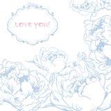 Ame o cartão com flores e fada pequena bonito. Imagens de Stock