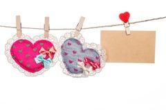 Ame o cartão da mensagem, forma do coração do dia de mãe do dia de Valentim Foto de Stock
