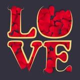 AME o cartão feliz do dia de Valentim, tipo da fonte Muitos corações de papel Imagens de Stock