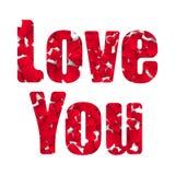 Ame-o cartão feliz do dia de Valentim, tipo da fonte Muitos corações de papel Fotos de Stock