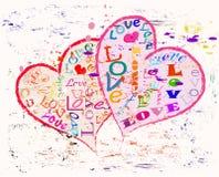 Ame o conceito com dois corações Foto de Stock Royalty Free