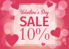 Ame o dia do ` s do Valentim do cartão do convite, coração do corte do papel, brilho Quadro Dia da venda Ilustração do vetor Imagens de Stock Royalty Free