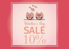 Ame o dia do ` s do Valentim do cartão do convite, forre o mini coração do corte, corujas do corte, corujas loving, brilho Dia da Foto de Stock