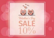 Ame o dia do ` s do Valentim do cartão do convite, forre o mini coração do corte, corujas do corte, corujas loving, brilho Dia da Imagem de Stock