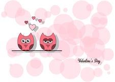 Ame o dia do ` s do Valentim do cartão do convite, forre o mini coração do corte, corujas do corte, corujas loving, brilho Ilustr Fotos de Stock