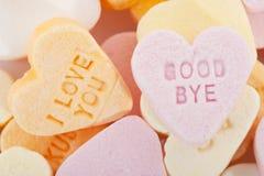 Ame-o e adeus corações dos doces Fotografia de Stock Royalty Free