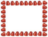 Ame o frame com corações vermelhos Fotos de Stock Royalty Free