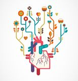 Ame o fundo com coração e flores, Valentim Imagens de Stock Royalty Free