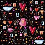 Ame o fundo feito de corações vermelhos, flores O teste padrão sem emenda pode ser usado para o papel de parede, suficiências de  Fotografia de Stock