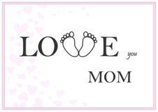 Ame-o ilustração cor-de-rosa horizontal do vetor do cartão da mamã Imagens de Stock Royalty Free