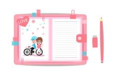 Ame o menino e a menina com livro de nota 5 Fotografia de Stock