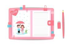 Ame o menino e a menina com livro de nota 6 Fotografia de Stock