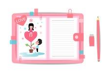 Ame o menino e a menina com livro de nota 2 Imagem de Stock