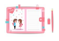 Ame o menino e a menina com livro de nota 3 Foto de Stock Royalty Free
