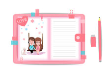 Ame o menino e a menina com livro de nota 7 Imagens de Stock Royalty Free
