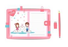 Ame o menino e a menina com livro de nota 9 Fotografia de Stock