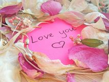 Ame-o mensagem na nota pegajosa cor-de-rosa com as p?talas secas da flor da rosa e da orqu?dea e o anel e a corrente da joia no f fotos de stock royalty free