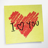Ame-o palavras e símbolo do coração Fotografia de Stock Royalty Free