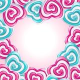 Ame o quadro com os corações do pirulito que formam um coração Foto de Stock Royalty Free