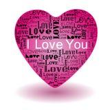 Ame o texto no coração cor-de-rosa ilustração do vetor