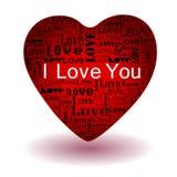 Ame o texto no coração vermelho ilustração royalty free
